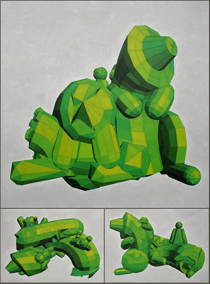low poly sculpture of animals with two children